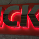 built up red halo illuminated letters